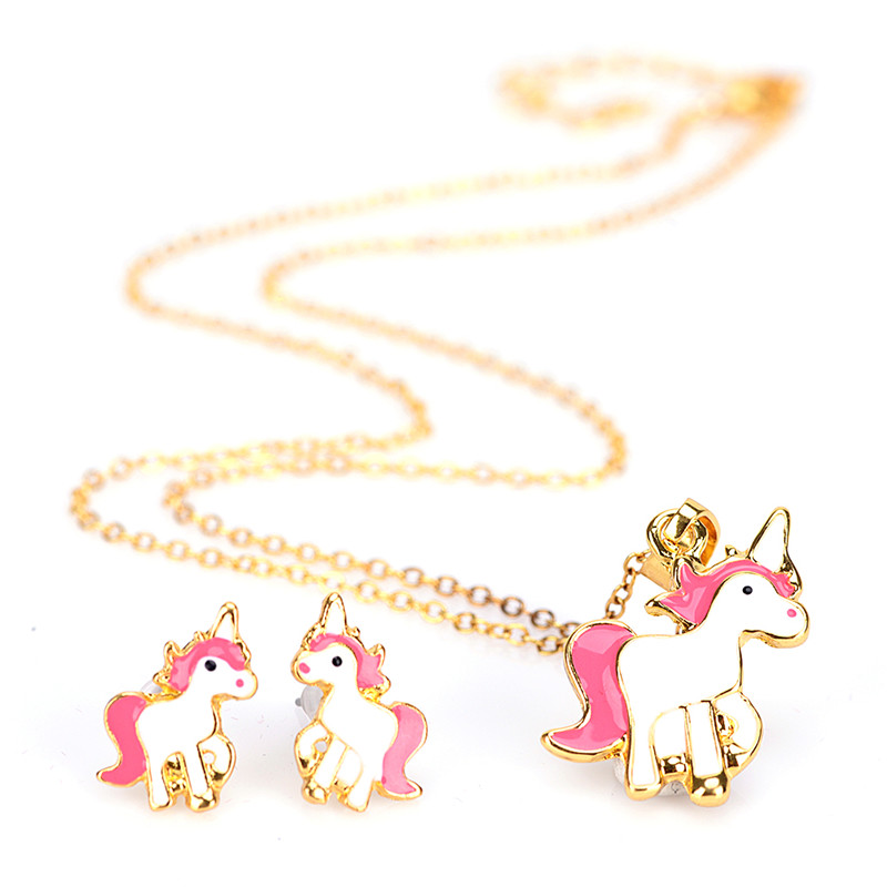 Pink Animal Jewelry Set Chain Kids Jewelry Cartoon Horse Unicorn Necklace Earring Jewelry Sets For Girls Best Gifts
