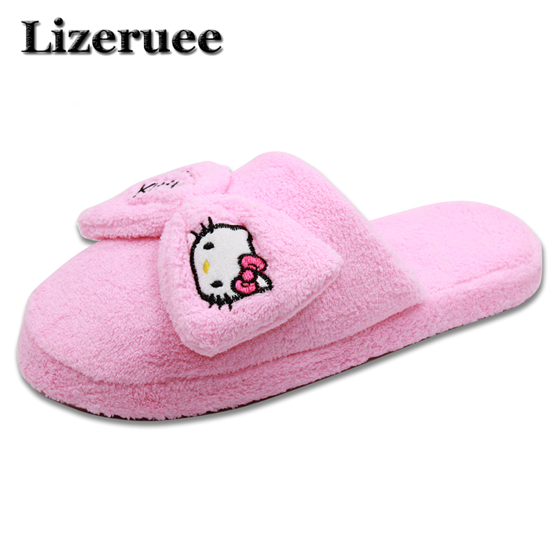 New Arrival Women Cute Pig Home Floor Soft Stripe Slippers Female Comfortable Cotton-padded Warm Slippers Shoes Q43