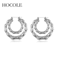 HOCOLE Unique Design Big Hoop Earrings Statement Metal Large Circle Silver Gold Color for Women 2018 Fashion Jewelry