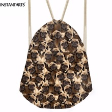 INSTANTARTS 2018 New Women Cute Dog Puzzle Backpack 3D Printing Travel Softback Women Pug Drawstring bag School Girls Backpack