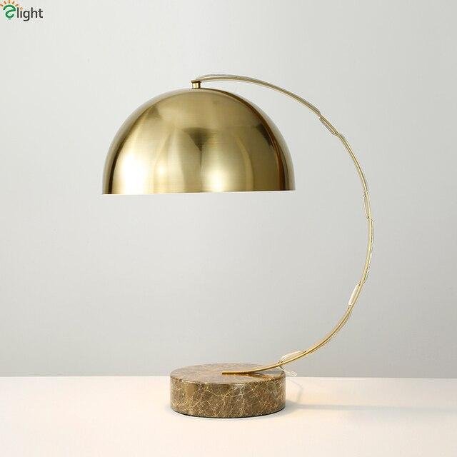 Modern Re Copper Metal Led Table Lamp Marble Base Bedroom Lights Living Room
