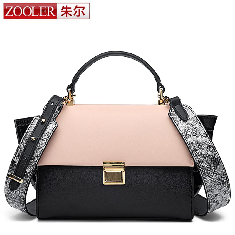 ZOOLER Fashion Women Bag Handbag Genuine Leather Tote Bag Female Small Trapeze Bag with Snake Strap Prints Shoulder Bag for Work yuanyu 2018 new snake skin snake leather women bag single shoulder bag small flap women bags