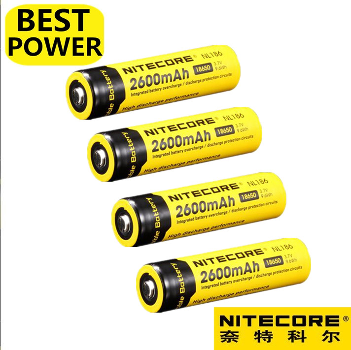 4 pcs Nitecore NL1826 18650 2600mAh 3.7V 9.6Wh Rechargeable Li on Battery high quality with protect batteries batteries battery battery battery battery rechargeable - title=
