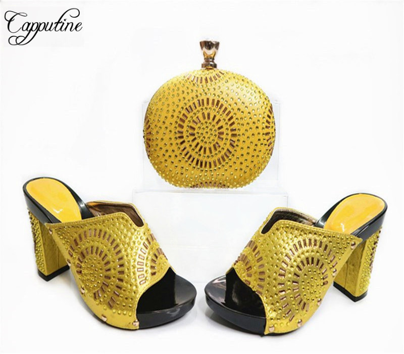 Capputine New Africa Style Rhinestone Woman Shoes And Bag Set Summer PU Leather High Heels Shoes And Bag Set For Party Dress G32 capputine summer style africa low heels woman shoes and bag fashion slipper shoes and purse set for party size 38 42 tx 8210