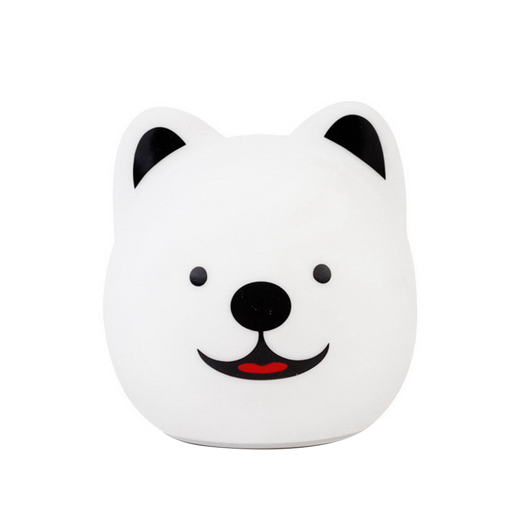 Baby Night Light Dog Puppy Panda Night Lamp Remote Tap Control Silicone Touch USB Rechargeable