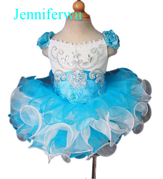 цена blue  little girl pageant baby infant toddler party dress flower girl dress 1T-6T G026-6 онлайн в 2017 году