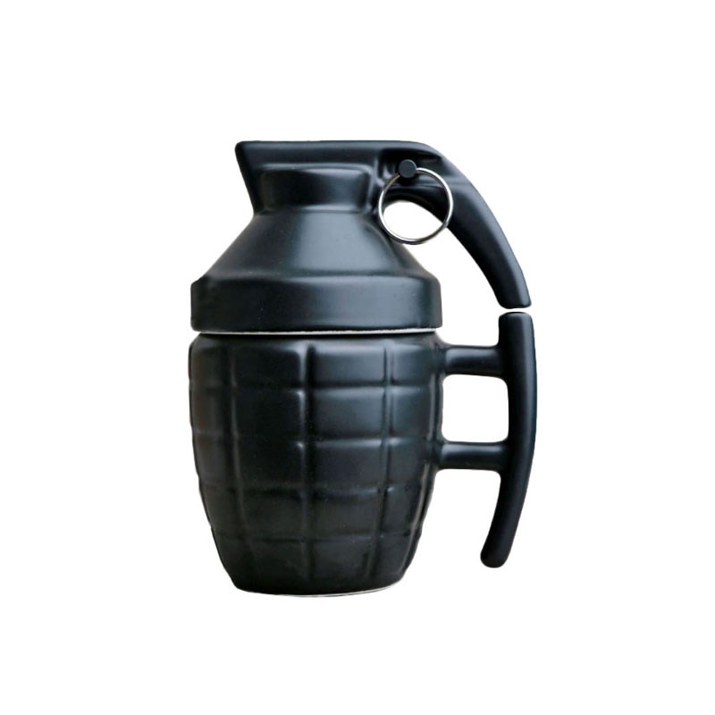 Creative Ceramic Grenade Mugs Water Coffee Tea Drinkware with Cover Lid Boom Cups 280ml White/Black