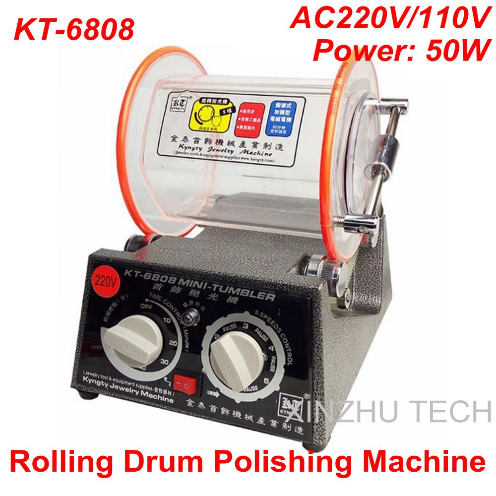 KT-6808 Rolling Drum Polishing Machine Rotary Tumbler Jewelry Polishing Machine Rock tumbler Capacity 3kg 220V/110V high quality 220v rock rotary tumbler jewelry polishing machine finishing machine jewelry tools
