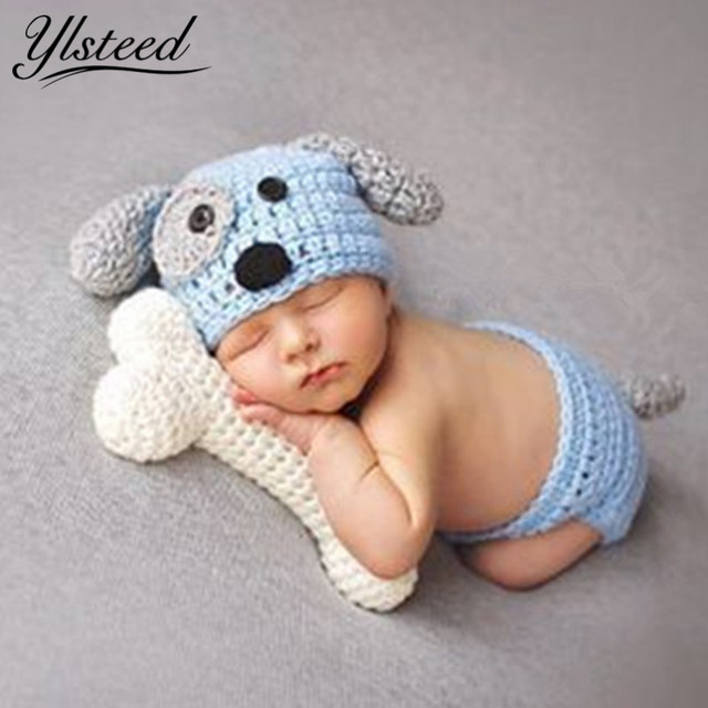 Newborn Photography Props Baby Khawaii Dog Hat Costume Set with Bone White  Blue Knitted Beanies Infant 9d68e2d8cad2