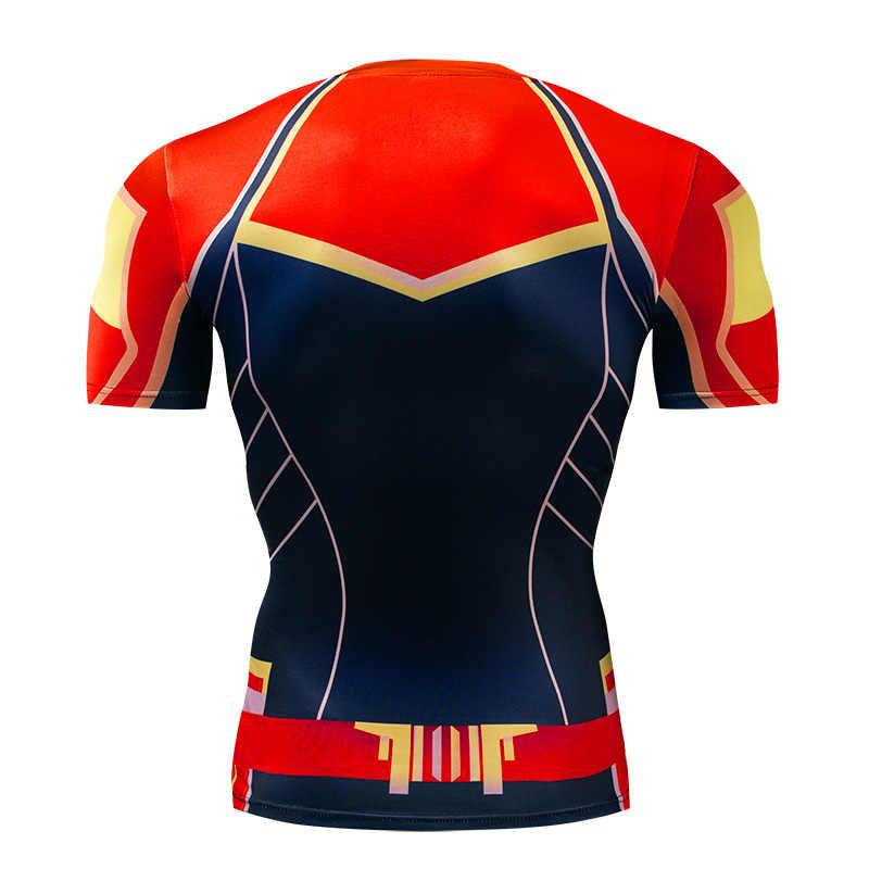 2019 Новый Кэрол Дэнверс фильма Марвел Капитан футболки с 3D-принтом Для мужчин с коротким рукавом обтягивающая Мужская одежда для фитнеса Топы S-4XL