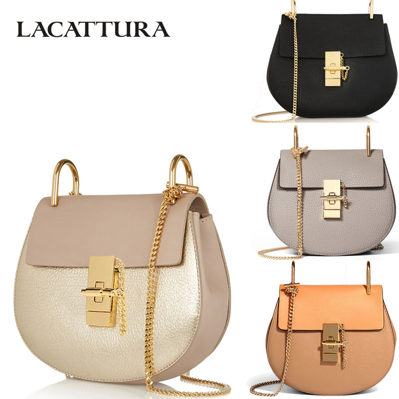 LACATTURA women messenger bags cowhide leather handbag ladies Chain shoulder bags clutch fashion crossbody bag brand