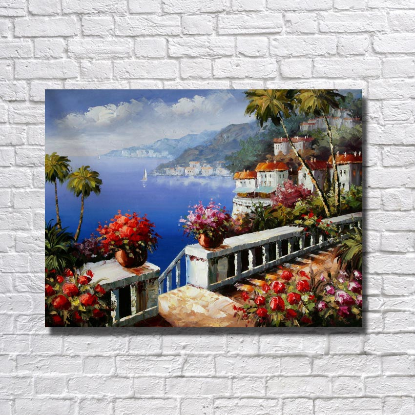 Free shipping poicture scenery hand drawing canvsa wall art paintings living room decoration