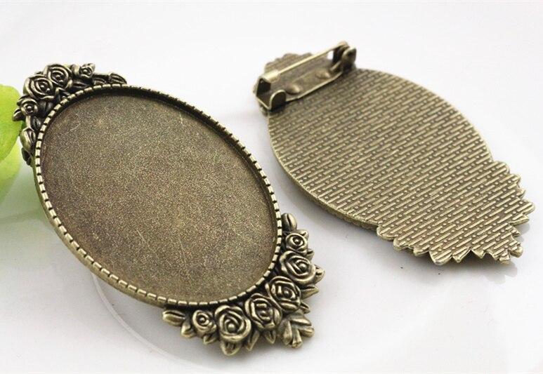 New Fashion  2pcs 30x40mm Inner Size Antique Bronze Pin Brooch Pierced Style Base Setting Pendant (B1-16)