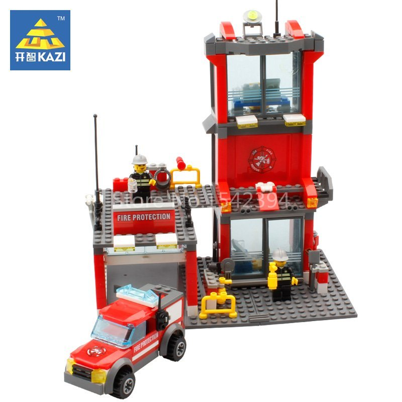 KAZI Fire Station Figure Educational Building Bricks Montessori Plastic Model Kit Kids Toys For Children Construction Blocks DIY new original fk 3100 fuser unit for kyocera fs3900dn 2000d 4000 oem 302f993079