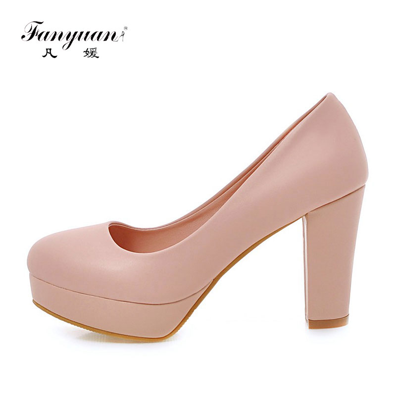 2017 New Women Pumps Casual Slip-on Spring Single Shoes Top Quality PU Handmade  Working Round Toe High Heels Plus Size 32-43 nayiduyun women casual shoes low top platform wedge high heels boots round toe slip on pumps punk chic shoes black white sneaker
