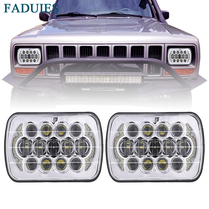 FADUIES 105W 5''x7'' 6''x7'' Chrome Projector Led Headlights with High/Low Beam DRL For Jeep Wrangler YJ Cherokee XJ Square lamp compatible projector lamp casio yl 35 10294008 xj s31 xj s36