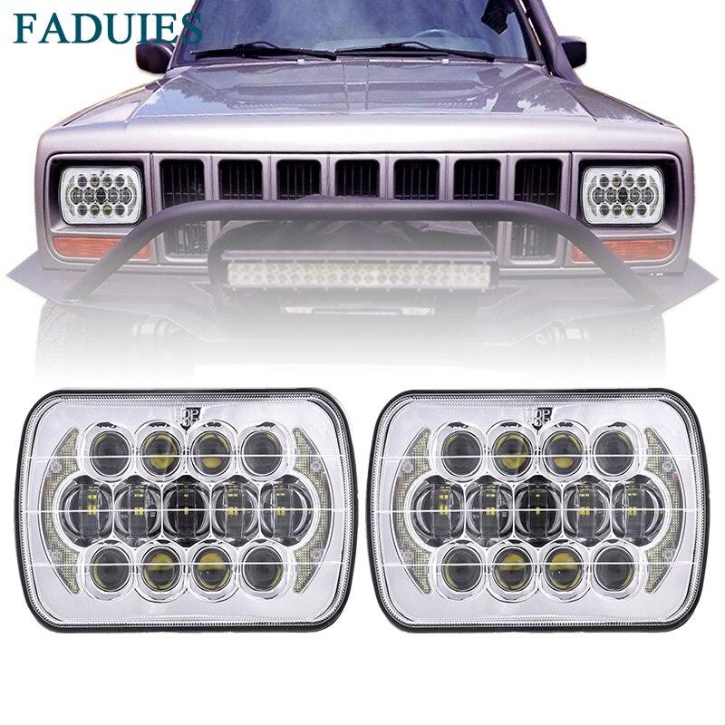 Faduies 105 Вт 5 ''x 7'' 6 ''x 7'' Chrome светодиодный проектор Фары для автомобиля с высокой/ низкая DRL луча для Jeep Wrangler YJ Cherokee XJ квадратных лампы