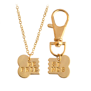 2 pcs/set Broken Dog Bone Best Friends Pendant Necklace Keychain Keyring For Dog Owner Women Men Friendship Pet Animal Jewelry