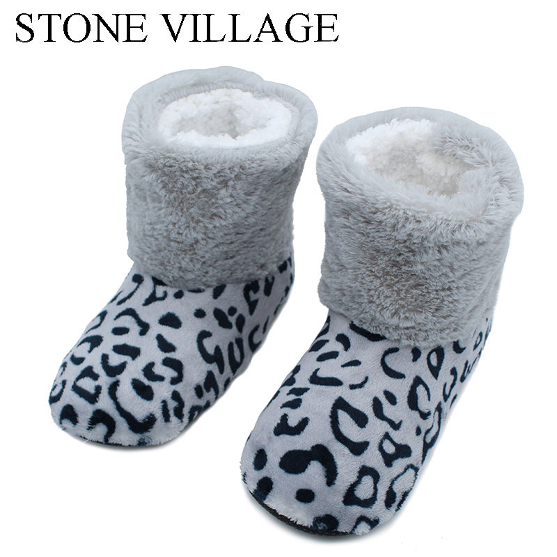 STONE VILLAGE 2018 New Plush Leopard Cotton Slippers Foreign Trade Cute Home Floor Indoor Slippers Female Home Women Slippers все цены
