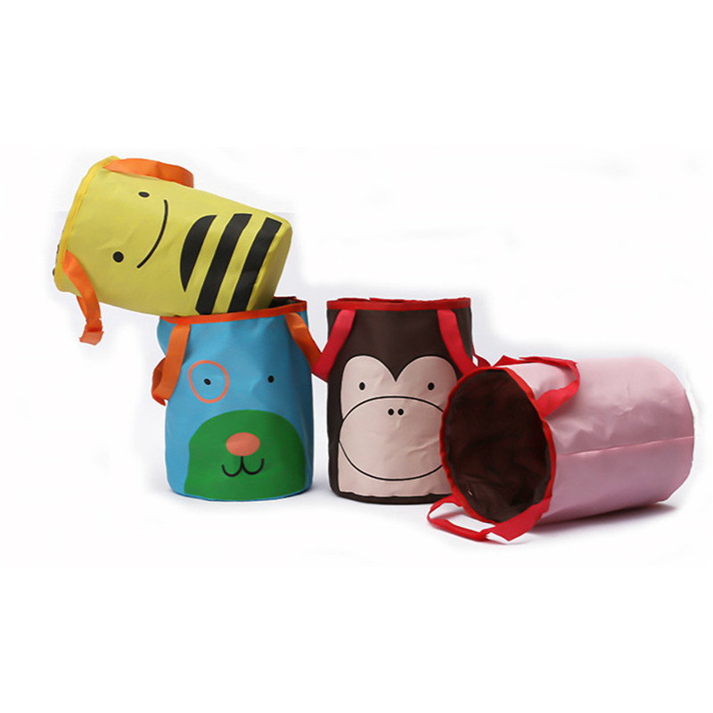 Kawaii Cartoon Oxford Waterproof Auto Car Storage Bag Portable Folding Leakproof Universal Travel Car Back Seat Trash Can Bin