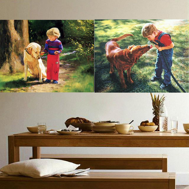 New 5d Diamond Diy Paintings Little Boy And Dog Mosaic Art Icon Cross Sch Crafty Decorative