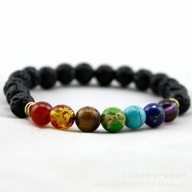 Colorful beaded chakra bracelet men with natural lava stone beads black hologram women men jewelry