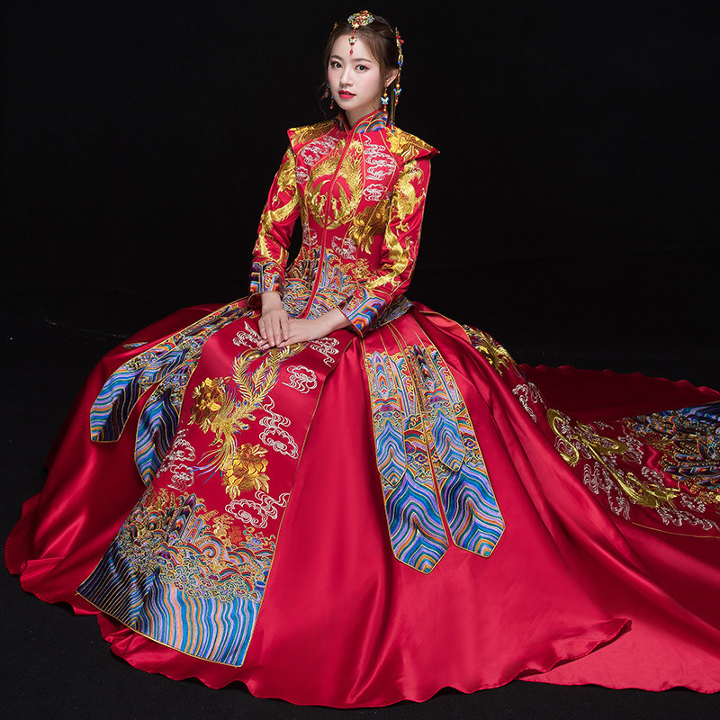 1e2596b73 Vendimia Cheongsam estilo chino Retro tostadas ropa señora bordado Phoenix  vestido matrimonio Qipao rojo ropa