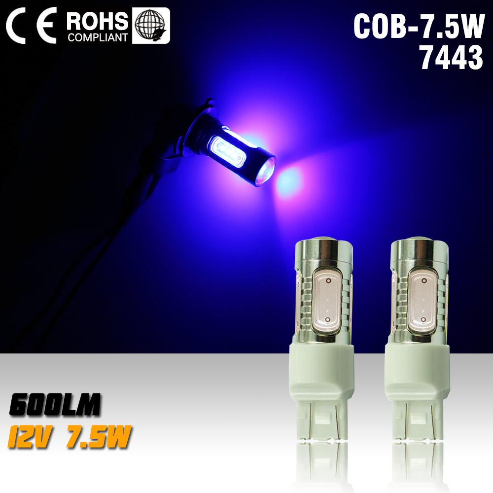 2X T20 7.5w 12v Led Brake Bulbs Auto w21/5w Parking High Power Car Led Lamp blue Car Light Source 7443 Led