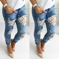 2016 New Women Destroyed Ripped Distressed Slim Denim Pants Boyfriend Lace Jeans Trousers