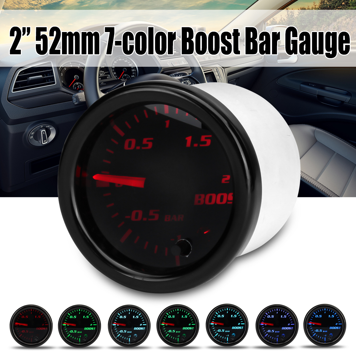 12V 2 zoll 52mm Turbo Boost Gauge Vakuum Press Meter-1 ~ 2 Bar 7 Farbe LED schwarz Len