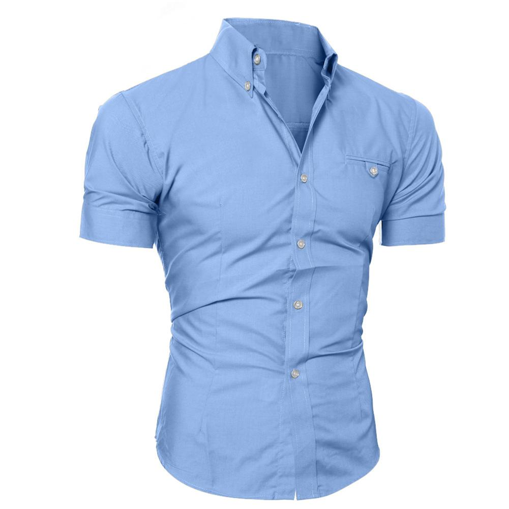 Fashion Men Solid Color Buttons Down Shirt Short Sleeve Slim Fit Lapel Tops