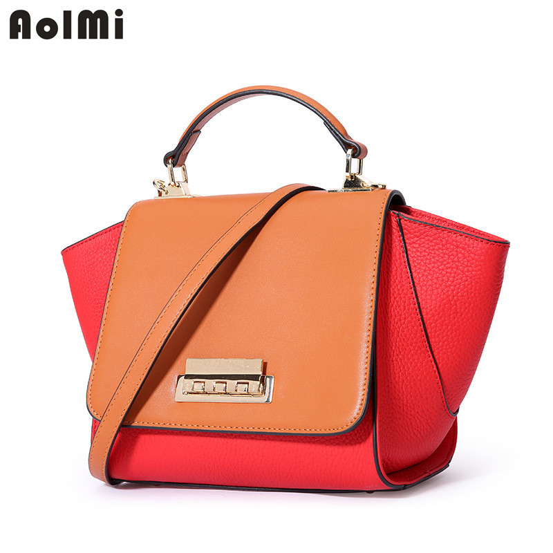 AolMi Wing Bag Genuine Leather Women Shoulder Messenger Handbags Luxury Brand Bag for Women Patchwork Tote Bag Bolsa Feminina genuine leather handbag 2018 new shengdilu brand intellectual beauty women shoulder messenger bag bolsa feminina free shipping