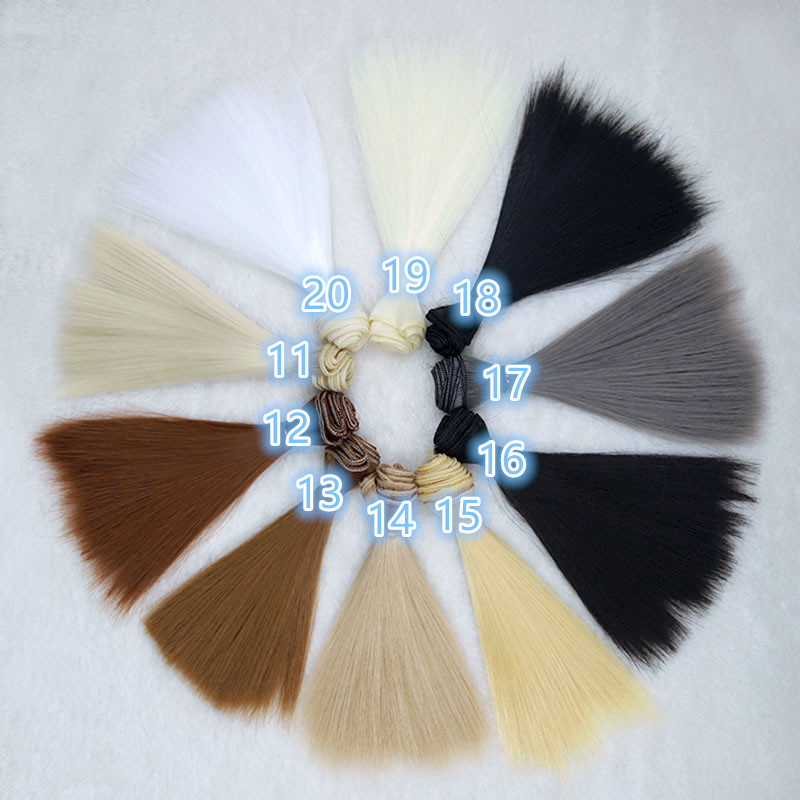 15cm 25cm 30cm 35cm 50cm doll <font><b>wigs</b></font> for Ye Luoli Chole <font><b>BJD</b></font> Doll hair <font><b>wigs</b></font> straight hair High-temperature wire colorful thick <font><b>wig</b></font> image