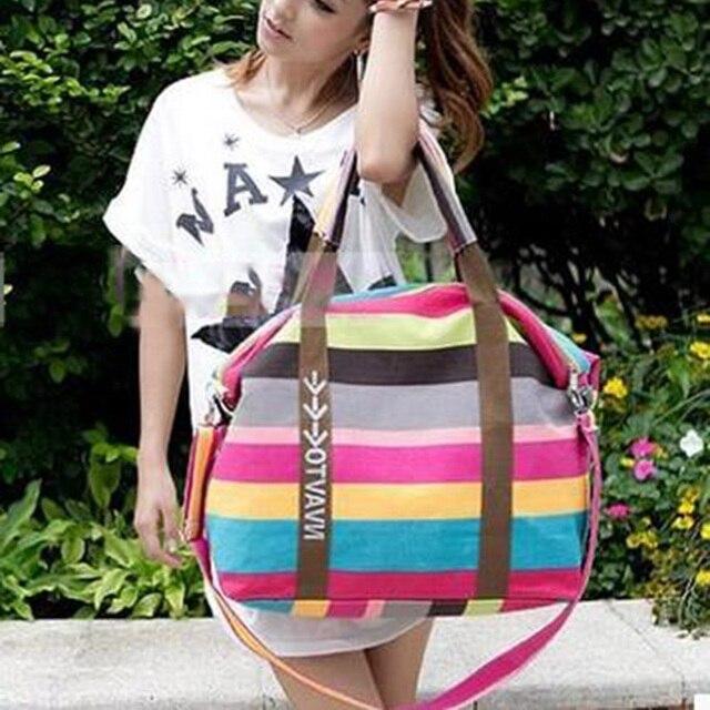 Women Canvas Messenger Bag Female Shoulder Bags Ladies Beach Top-Handle Bags Stripe Tote Shopping Bag 3