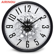 Airinou Creative Cracking Effect Transparent Glass 3D Wall clock, New Homes Gift Circle Metal Sense Of Heavy Material