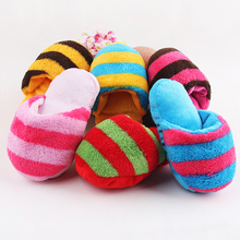 Hot Cute Puppy Fad Dog Toy Pet Puppy Chew Play Squeaker Sound Plush Slippers Bread shape Gift For Dog