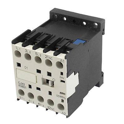 Cjx2 - k0601 24 Volts bobine 35 mm Rail DIN 6A trois pôle 3 P 1NC AC contacteur