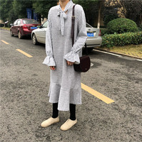 New Women dress Bow Ruffles Striped Loose Patchwork Two Small Video Firm Offers False Dresses Gray Black 5875