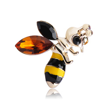 Unique Bee Abelha Brooches For Women Man Kids Enamel Rhinestone Broches Sweater Suit Coat Pins Hijab Scarf Dress Clips Schmuck