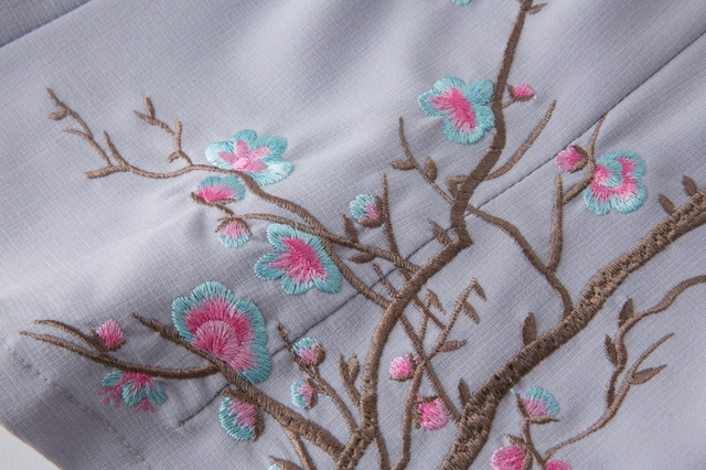 SHENG COCO lin hauts coton broderie Qipao hauts chinois dames chinois Vintage vêtements Cheongsam hauts Violet Costume populaire