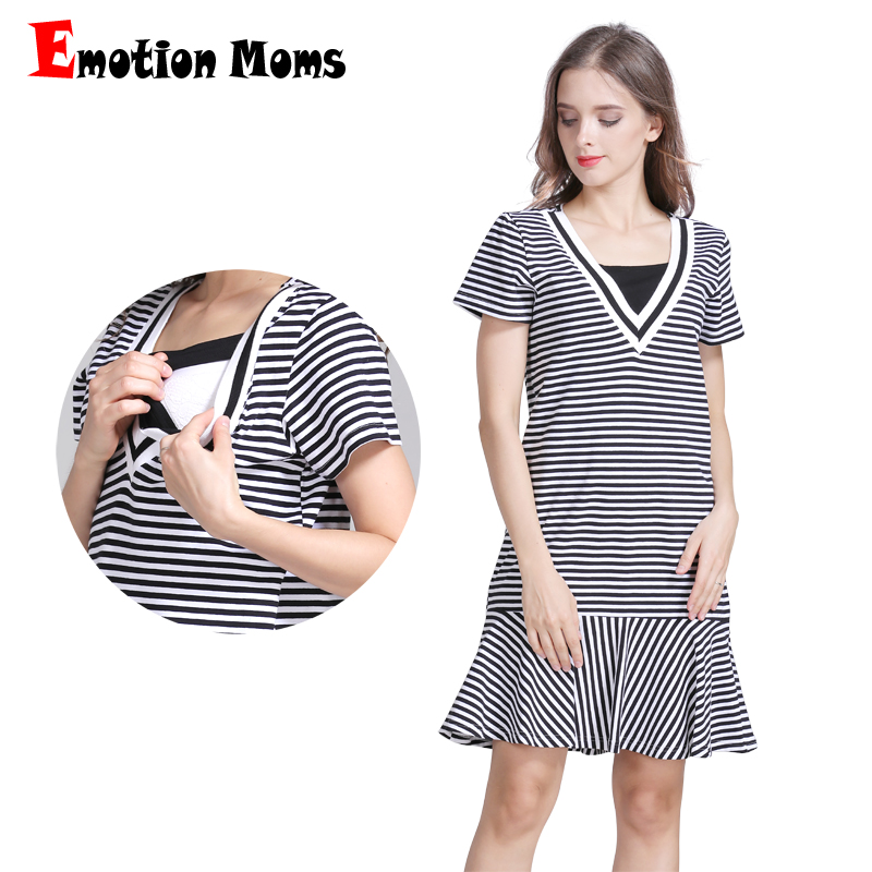 Emotion Moms Cotton Striped Maternity clothes pregnancy dresses for Pregnant Women nursing dress Breastfeeding Dresses Skirt new party pregnant coat lace long pregnant breastfeeding dresses for women nursing dress hot selling