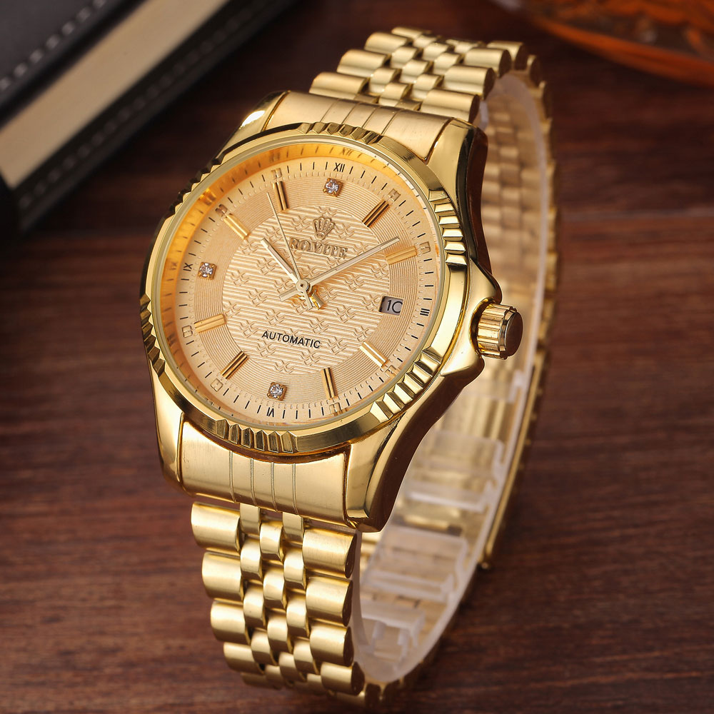 Luxury Gold Fashion Mens Watches Casual Crystal Dial Date Automatic font b Mechanical b font Stainless