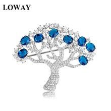 LOWAY Luxury Apple Tree Design Blue Cubic Zirconia Brooch Female Jewelry for Women Christmas Gifts HJ8041