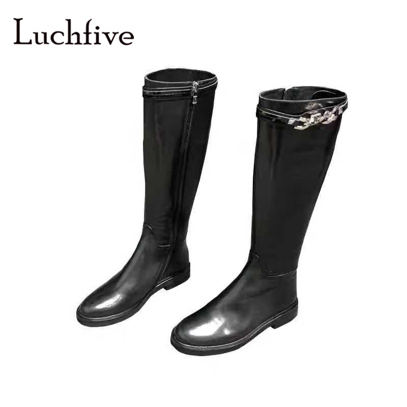 Sexy metal chains knee high boots women genuine leather classic round toe long boots black zipper low heels shoes womanSexy metal chains knee high boots women genuine leather classic round toe long boots black zipper low heels shoes woman