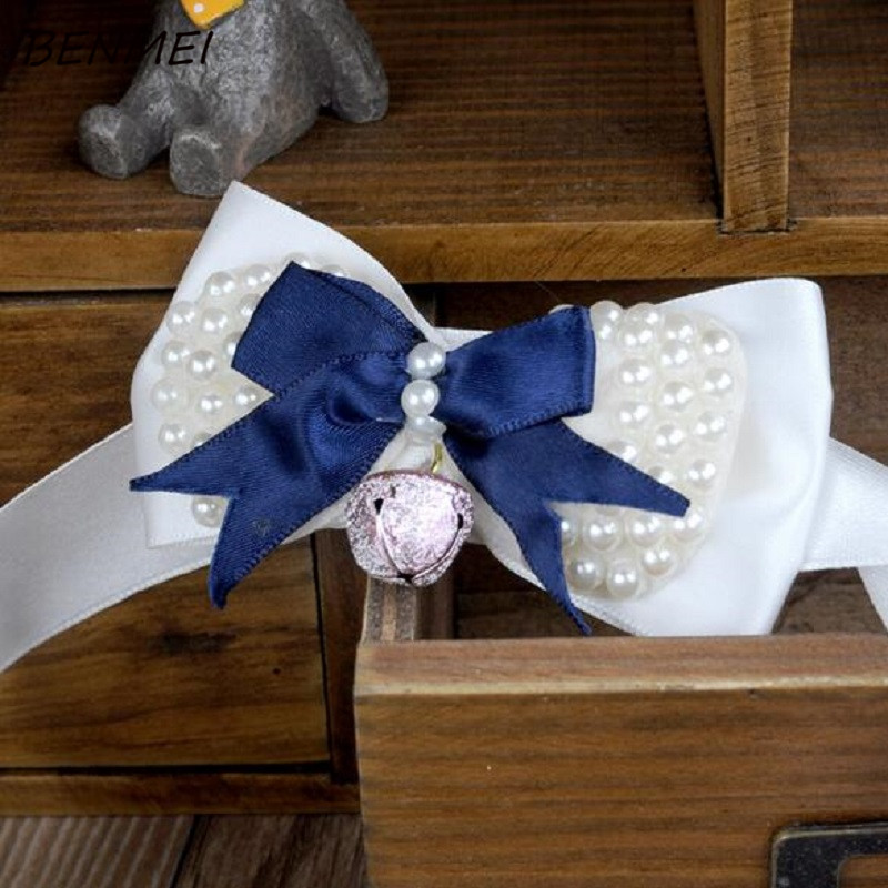 BENMEI Fashion Dog Collar Bow With Bell Cat collar Ribbon Pet Collar Adjustable XS S M L XL Various Colors Dog Cat Collar Gifts