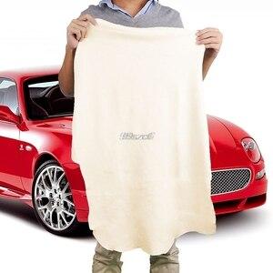 Image 1 - 50*70CM Natürliche Shammy Gämsen Leder Auto Reinigung Handtücher Trocknen Waschen Tuch DropShip Dropshipping