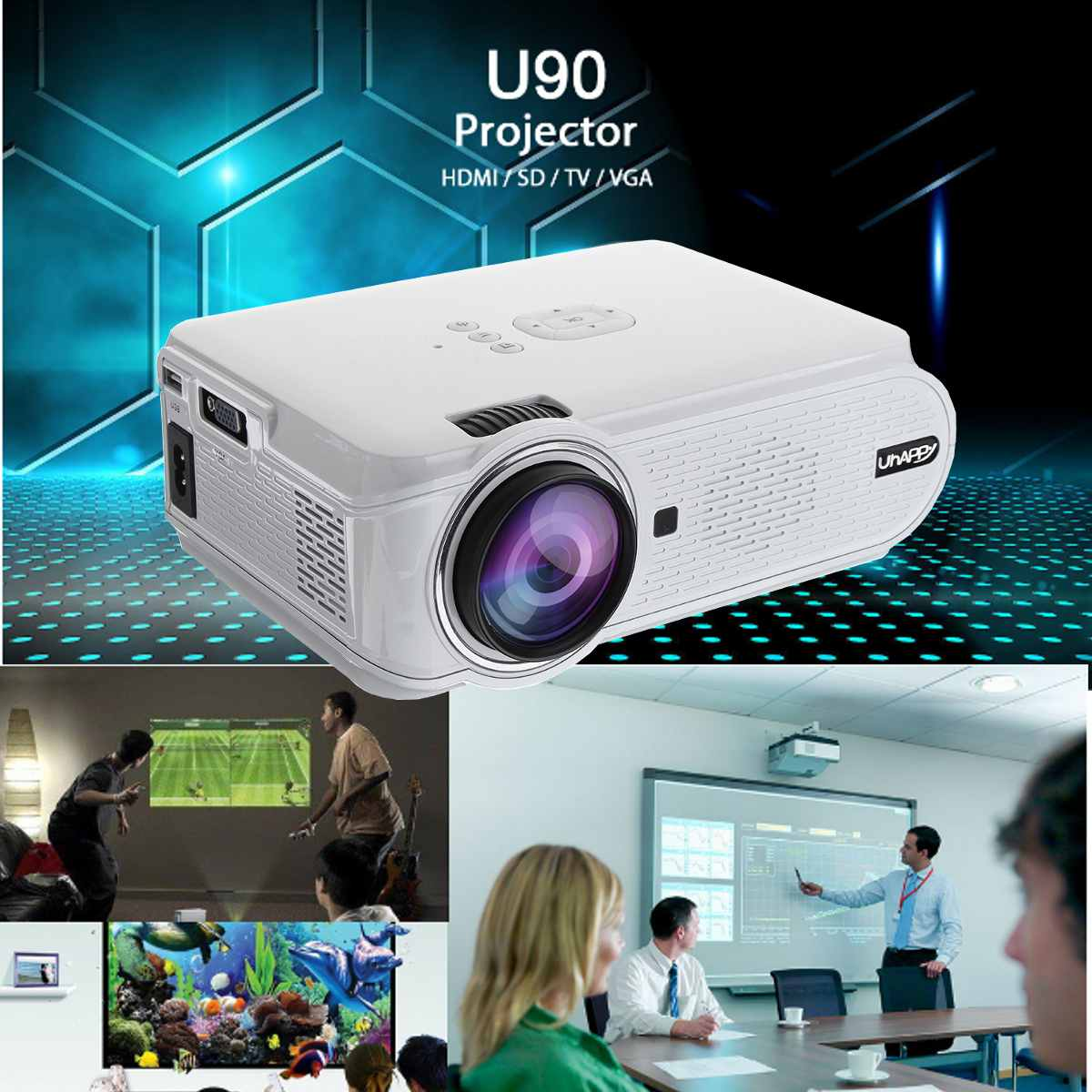<font><b>7000</b></font> <font><b>Lumens</b></font> 1080P HD LED 3D Mini Projectors Cinema Home Theater Remote Control image