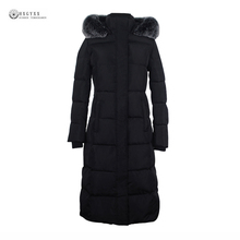Новинка 2017 года женщин вниз пальто Длинные зимние куртки Плюс Размеры съемный меховой воротник белого утиного пуха зимнее пальто Верхняя одежда OK951