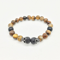 Thomas Obsidian Black Tiger Eye CZ Skull Cross Pearl Bracelet Natural Stone Rebel Heart Style Jewelry