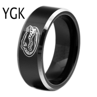Free Shipping Customs Engraving Ring Hot Sales 8MM Black With Shiny Edges Gators Design Men S